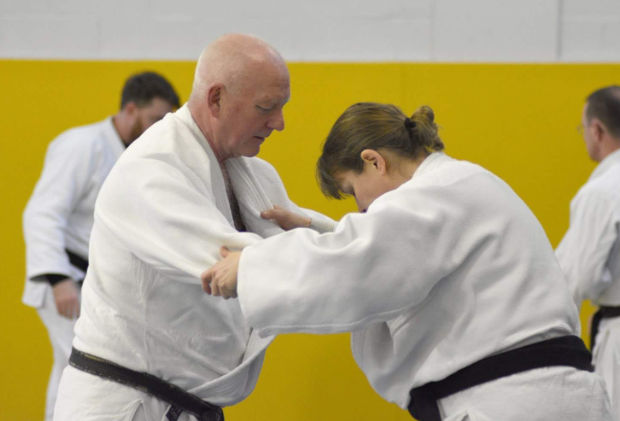 Keith & Debbie practing their skills at the British Judo National Conference for Coaches